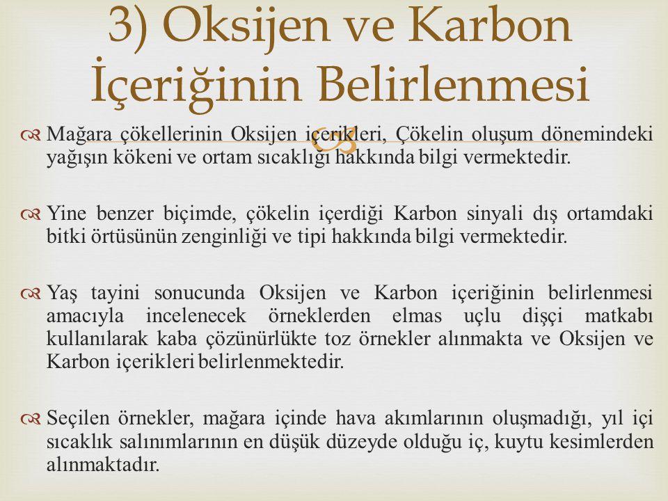 3) Oksijen ve Karbon İçeriğinin Belirlenmesi