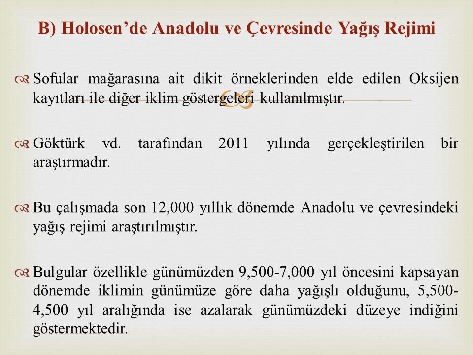 B) Holosen'de Anadolu ve Çevresinde Yağış Rejimi