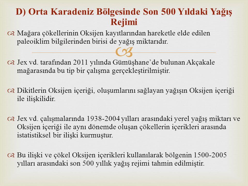 D) Orta Karadeniz Bölgesinde Son 500 Yıldaki Yağış Rejimi