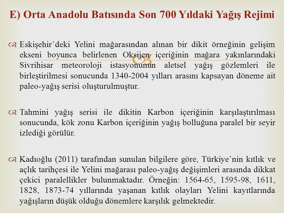 E) Orta Anadolu Batısında Son 700 Yıldaki Yağış Rejimi