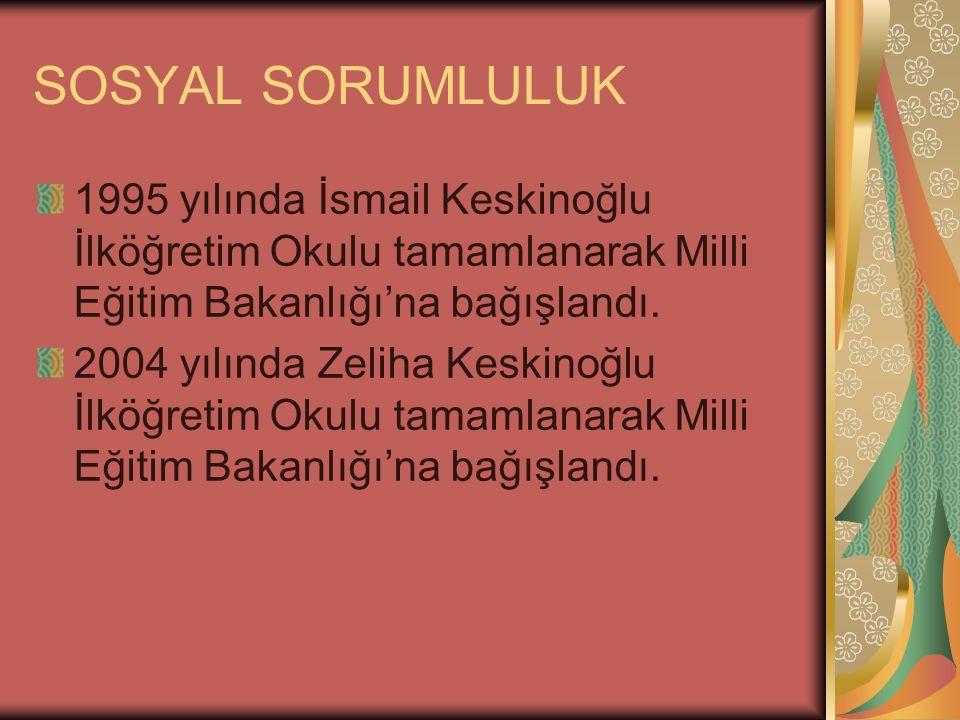 SOSYAL SORUMLULUK 1995 yılında İsmail Keskinoğlu İlköğretim Okulu tamamlanarak Milli Eğitim Bakanlığı'na bağışlandı.