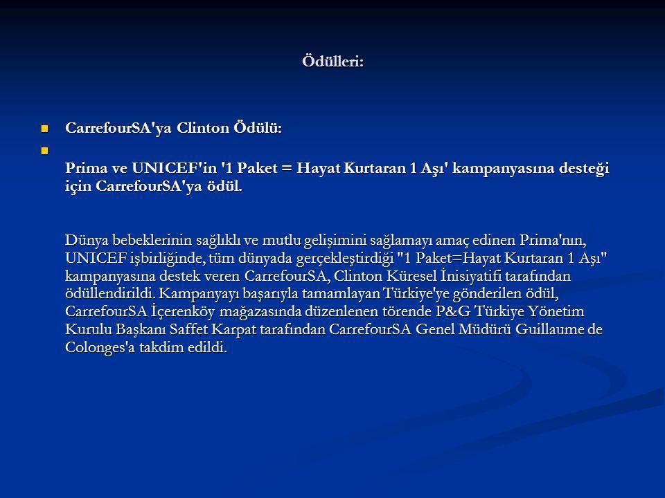 Ödülleri: CarrefourSA ya Clinton Ödülü: