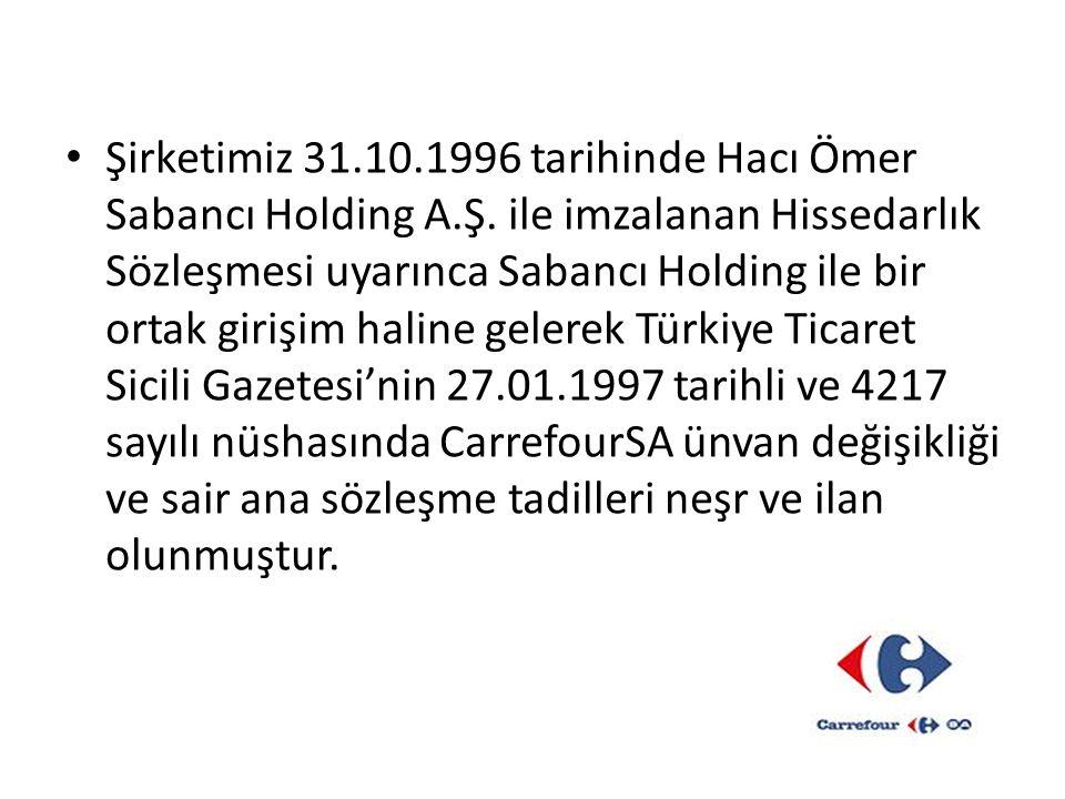 Şirketimiz 31. 10. 1996 tarihinde Hacı Ömer Sabancı Holding A. Ş