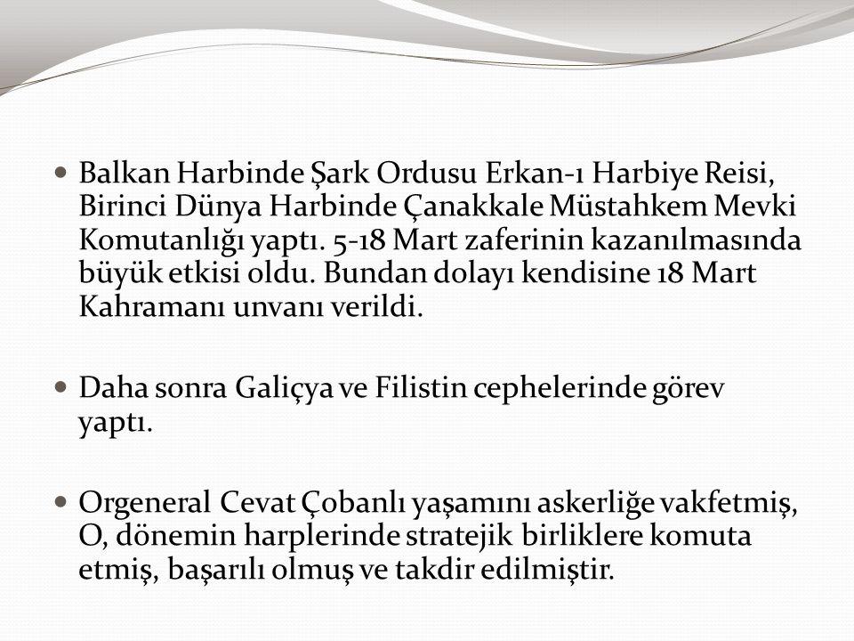 Balkan Harbinde Şark Ordusu Erkan-ı Harbiye Reisi, Birinci Dünya Harbinde Çanakkale Müstahkem Mevki Komutanlığı yaptı. 5-18 Mart zaferinin kazanılmasında büyük etkisi oldu. Bundan dolayı kendisine 18 Mart Kahramanı unvanı verildi.
