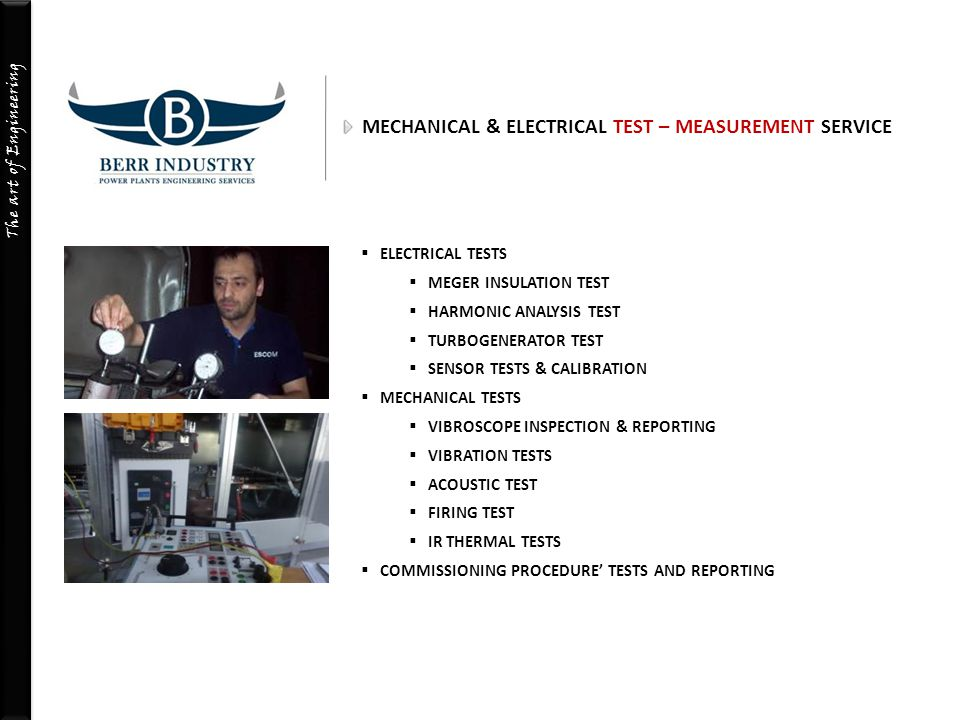MECHANICAL & ELECTRICAL TEST – MEASUREMENT SERVICE
