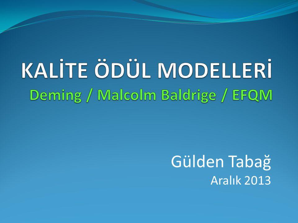 KALİTE ÖDÜL MODELLERİ Deming / Malcolm Baldrige / EFQM