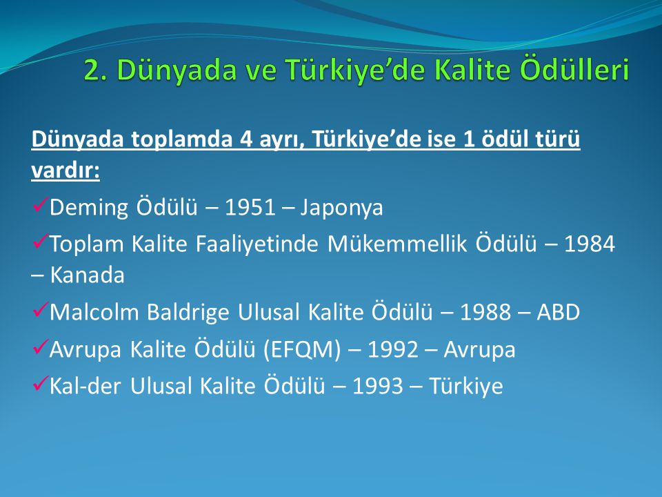 2. Dünyada ve Türkiye'de Kalite Ödülleri