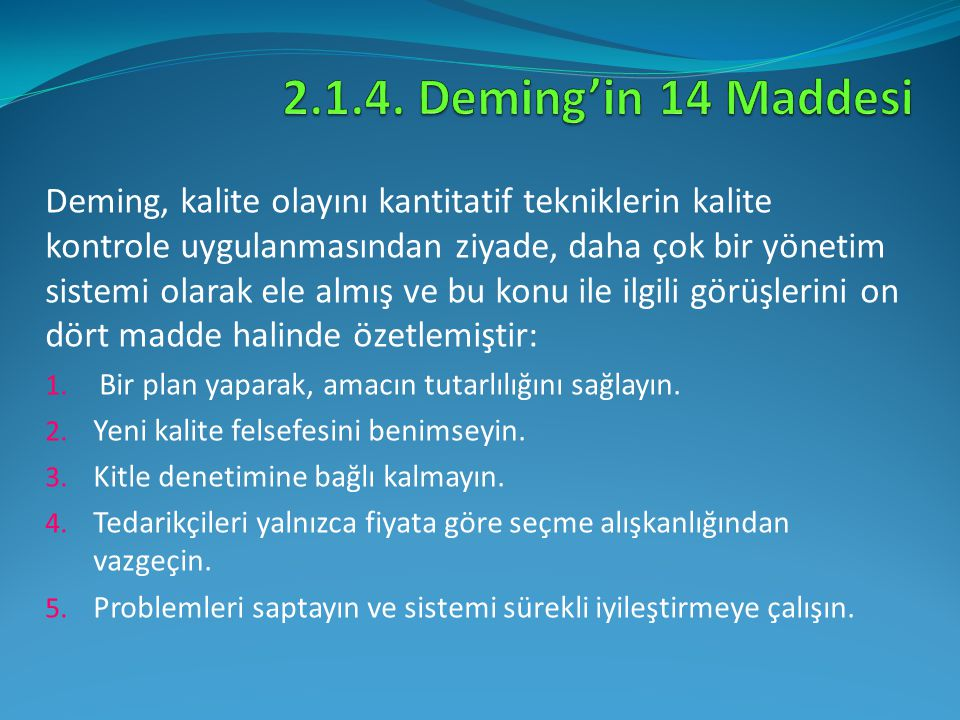 2.1.4. Deming'in 14 Maddesi
