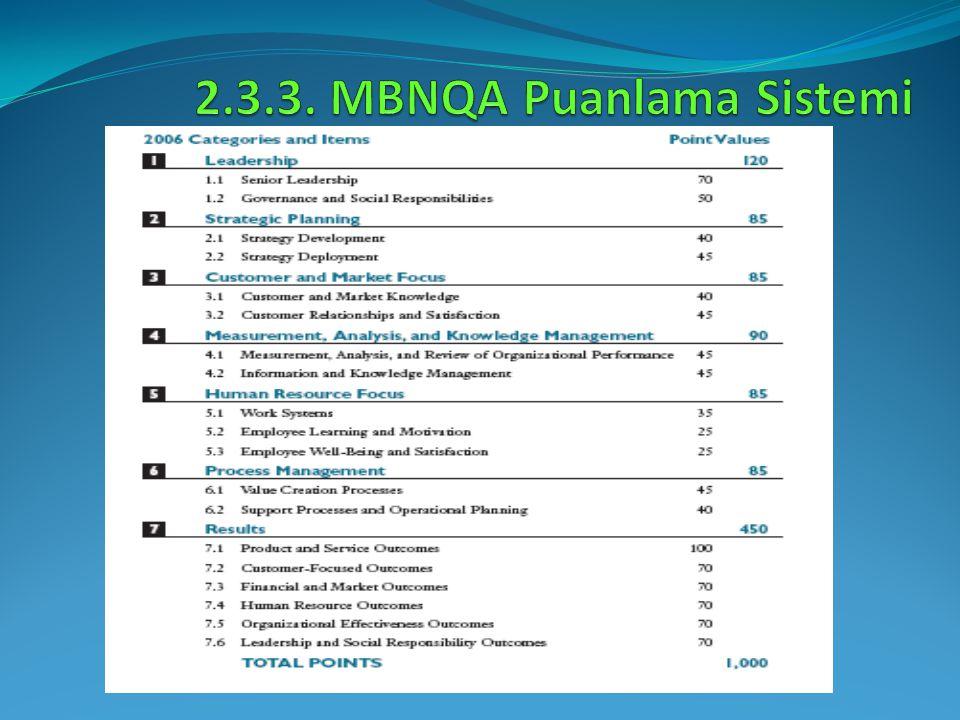 2.3.3. MBNQA Puanlama Sistemi