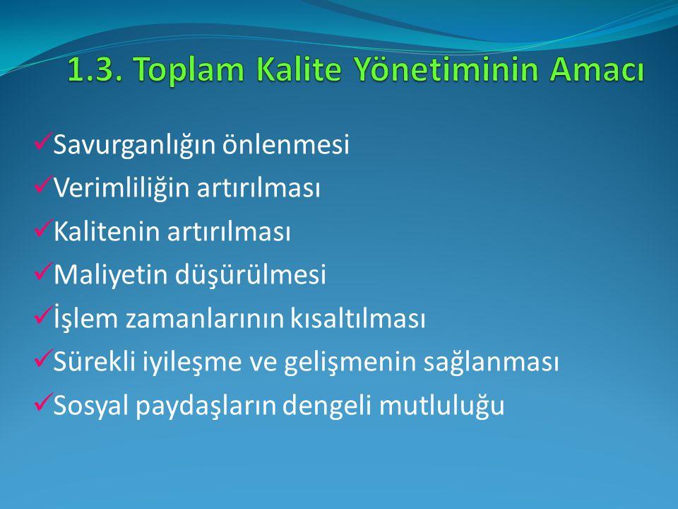 1.3. Toplam Kalite Yönetiminin Amacı