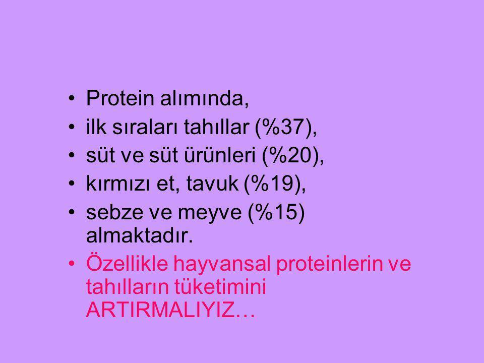Protein alımında, ilk sıraları tahıllar (%37), süt ve süt ürünleri (%20), kırmızı et, tavuk (%19),