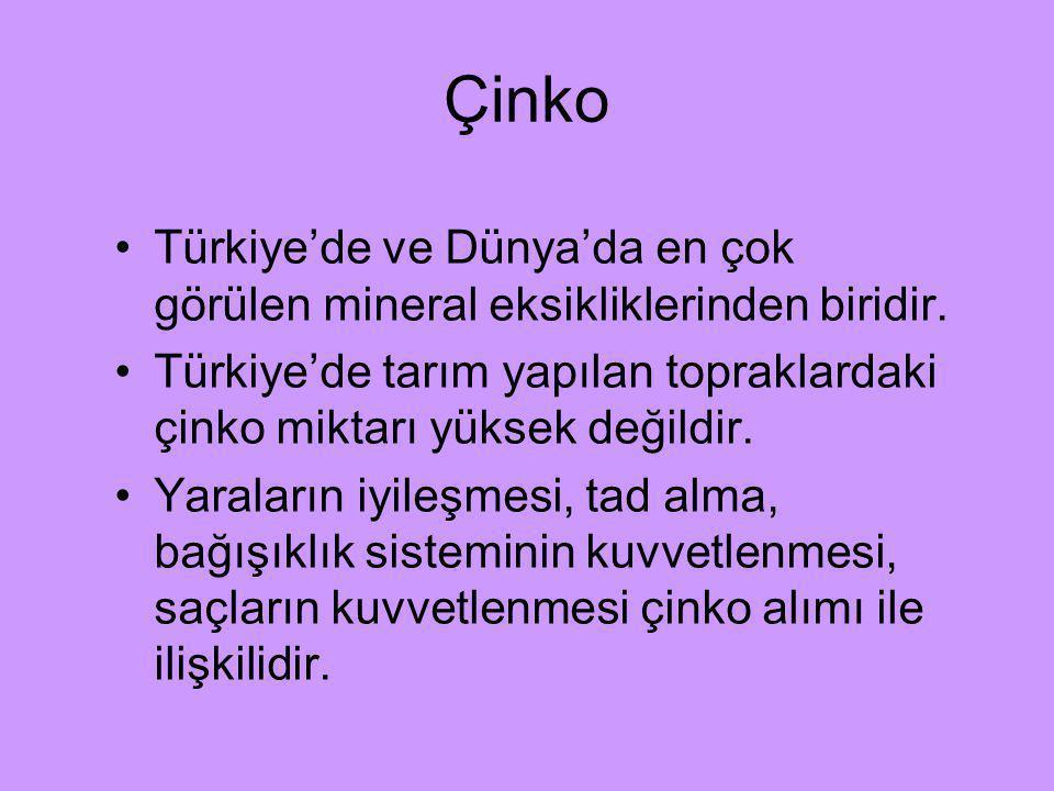 Çinko Türkiye'de ve Dünya'da en çok görülen mineral eksikliklerinden biridir. Türkiye'de tarım yapılan topraklardaki çinko miktarı yüksek değildir.