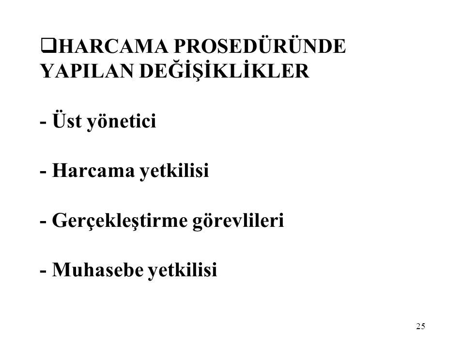 HARCAMA PROSEDÜRÜNDE YAPILAN DEĞİŞİKLİKLER - Üst yönetici - Harcama yetkilisi - Gerçekleştirme görevlileri - Muhasebe yetkilisi