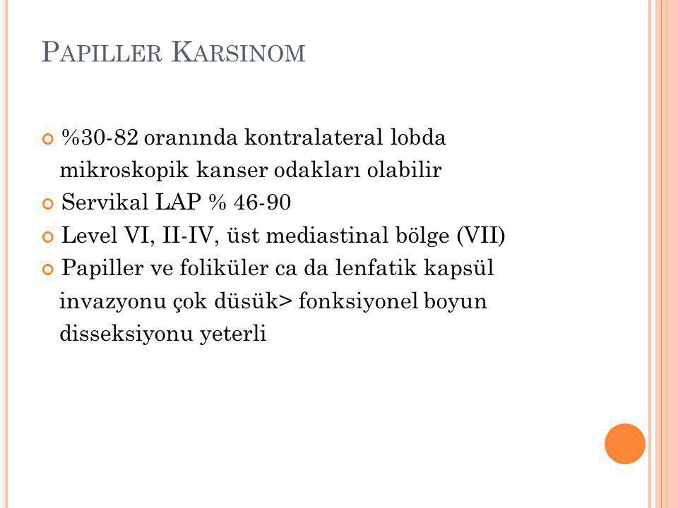 Papiller Karsinom %30-82 oranında kontralateral lobda