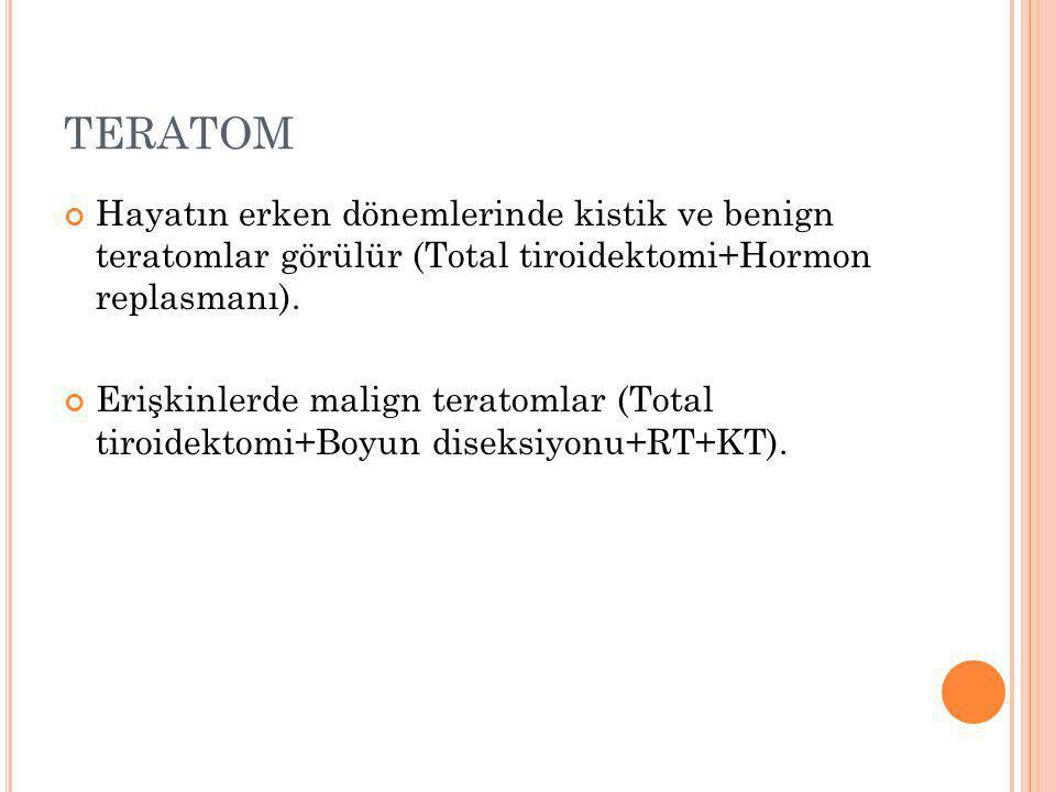TERATOM Hayatın erken dönemlerinde kistik ve benign teratomlar görülür (Total tiroidektomi+Hormon replasmanı).