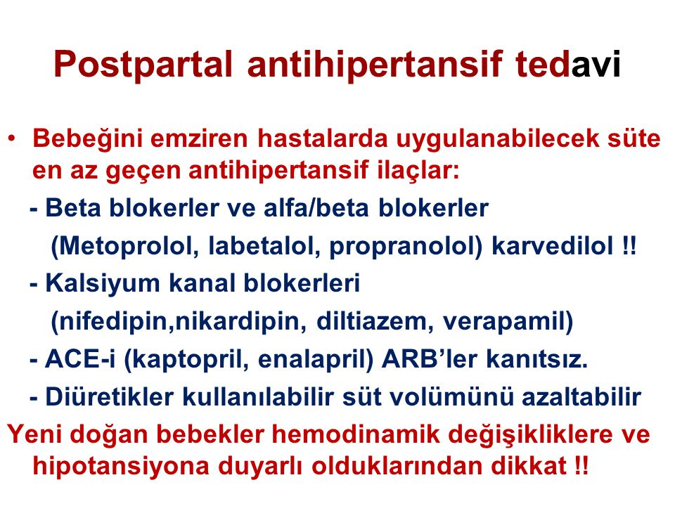 Postpartal antihipertansif tedavi