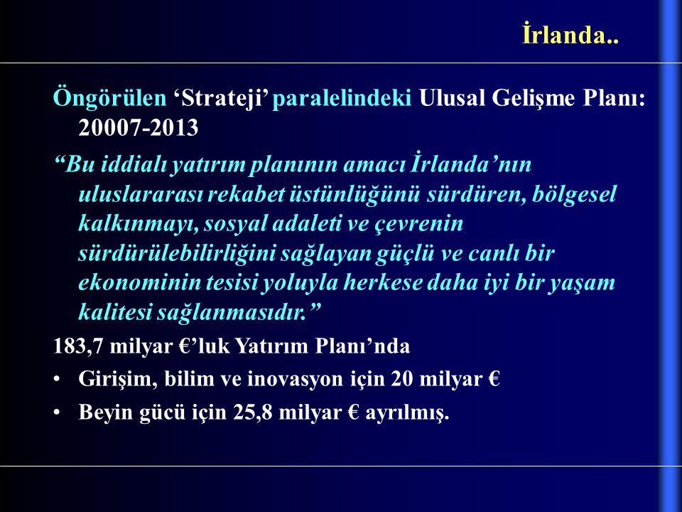 İrlanda.. Öngörülen 'Strateji' paralelindeki Ulusal Gelişme Planı: 20007-2013.