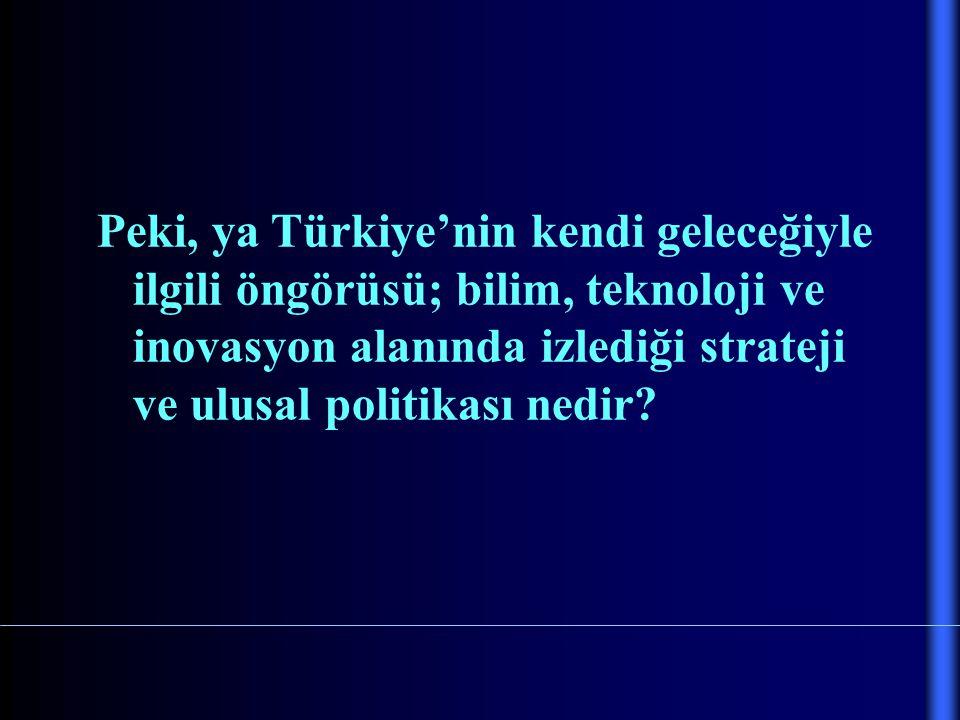 Peki, ya Türkiye'nin kendi geleceğiyle ilgili öngörüsü; bilim, teknoloji ve inovasyon alanında izlediği strateji ve ulusal politikası nedir