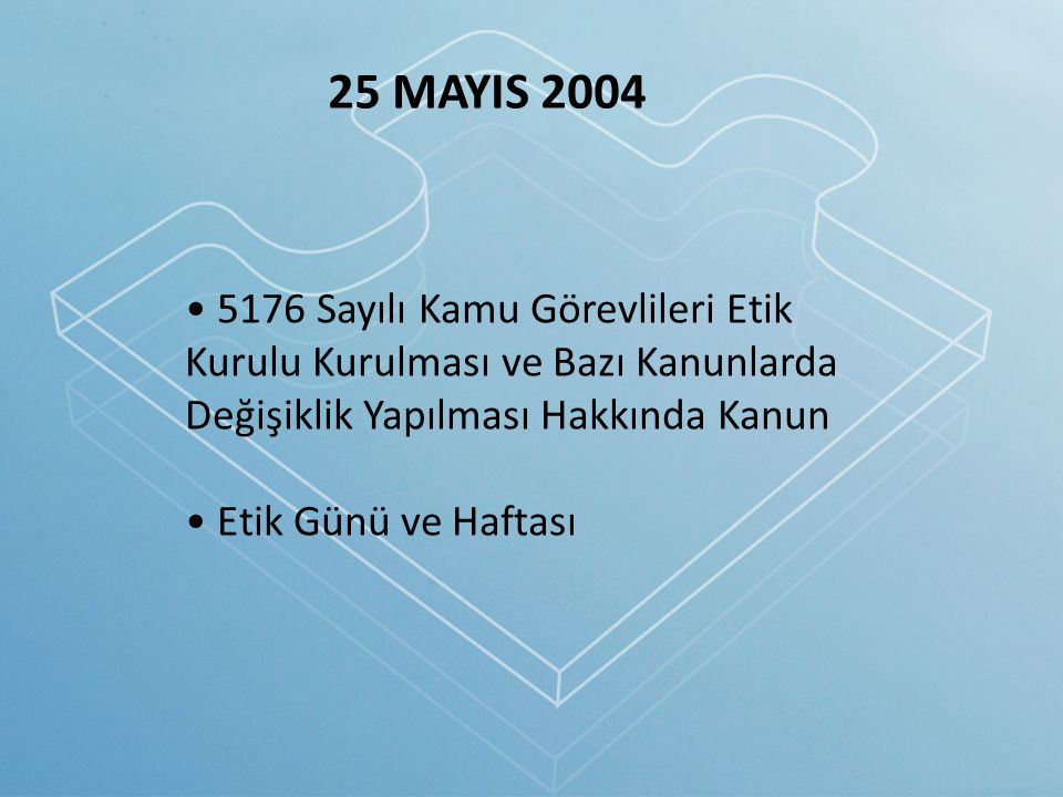 25 MAYIS 2004 5176 Sayılı Kamu Görevlileri Etik Kurulu Kurulması ve Bazı Kanunlarda Değişiklik Yapılması Hakkında Kanun.