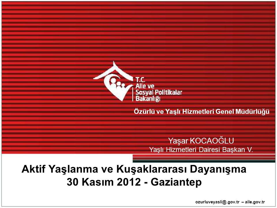 Aktif Yaşlanma ve Kuşaklararası Dayanışma 30 Kasım 2012 - Gaziantep