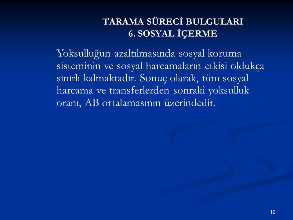 TARAMA SÜRECİ BULGULARI 6. SOSYAL İÇERME