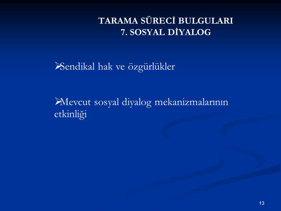 TARAMA SÜRECİ BULGULARI 7. SOSYAL DİYALOG