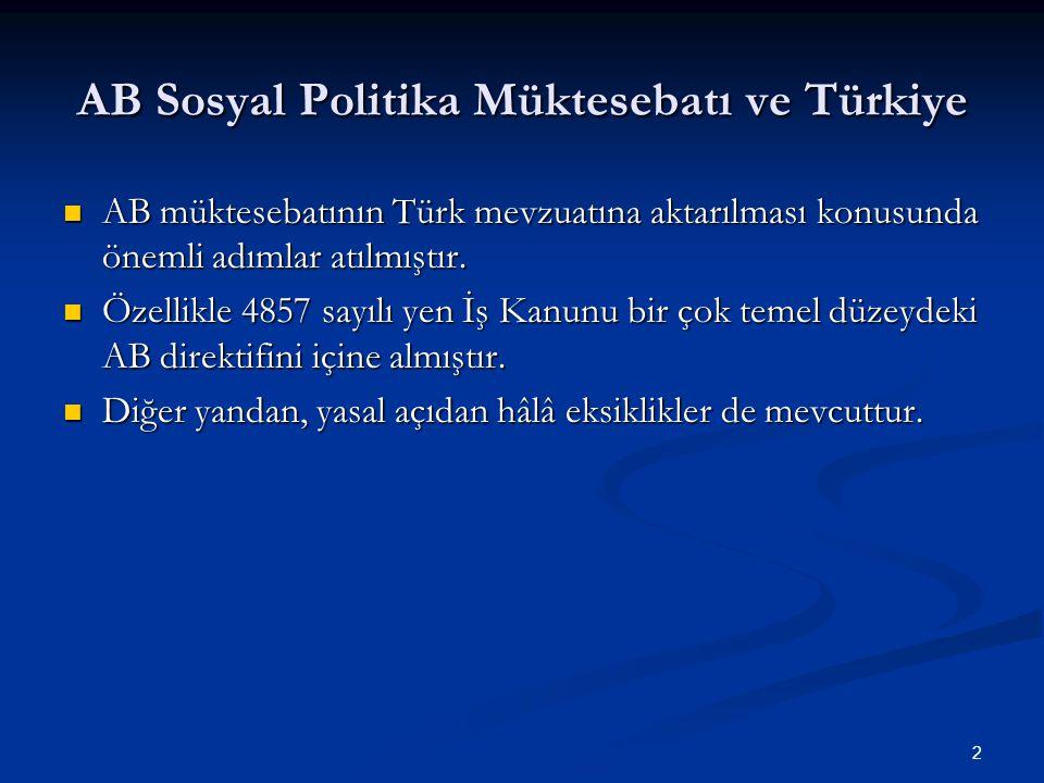 AB Sosyal Politika Müktesebatı ve Türkiye