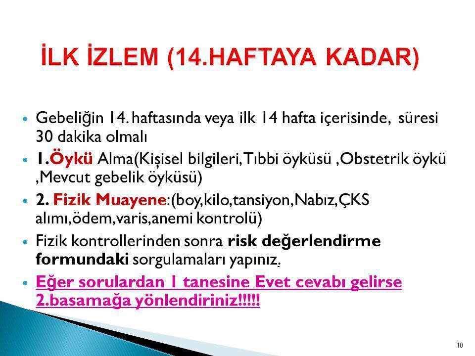 İLK İZLEM (14.HAFTAYA KADAR)