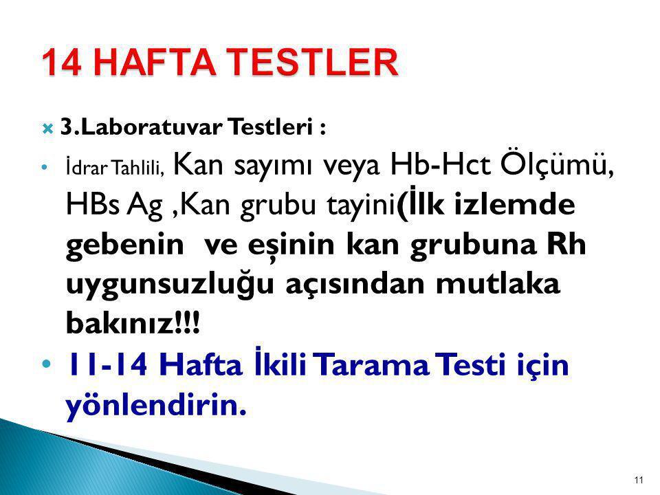 14 HAFTA TESTLER 11-14 Hafta İkili Tarama Testi için yönlendirin.