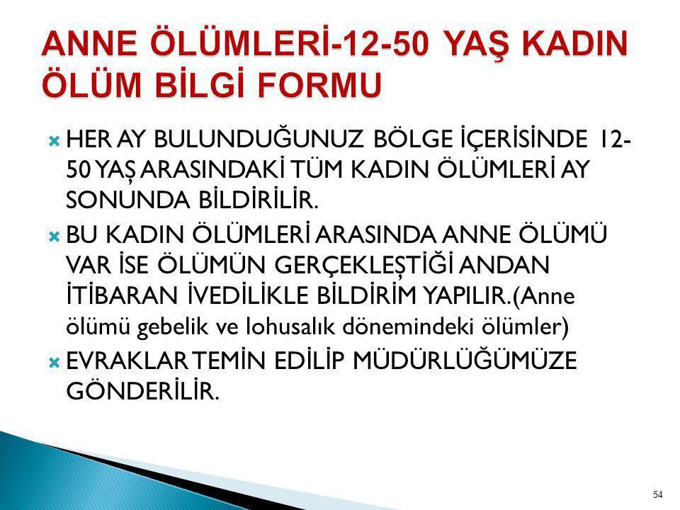 ANNE ÖLÜMLERİ-12-50 YAŞ KADIN ÖLÜM BİLGİ FORMU