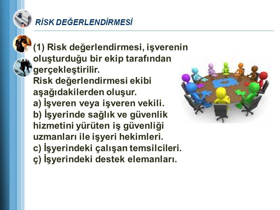 Risk değerlendirmesi ekibi aşağıdakilerden oluşur.