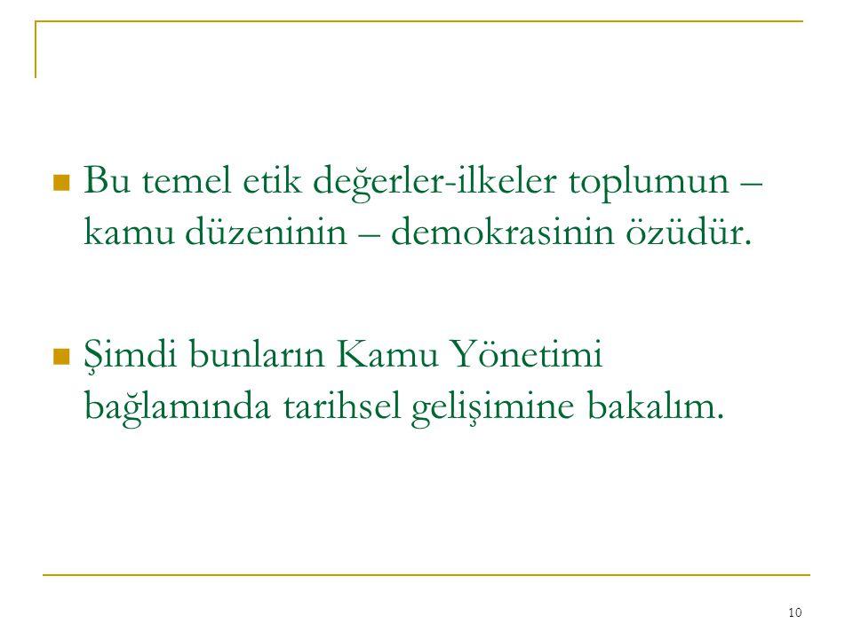 Bu temel etik değerler-ilkeler toplumun – kamu düzeninin – demokrasinin özüdür.