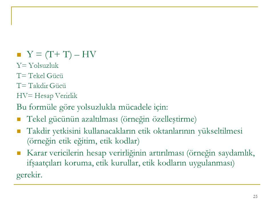 Y = (T+ T) – HV Bu formüle göre yolsuzlukla mücadele için: