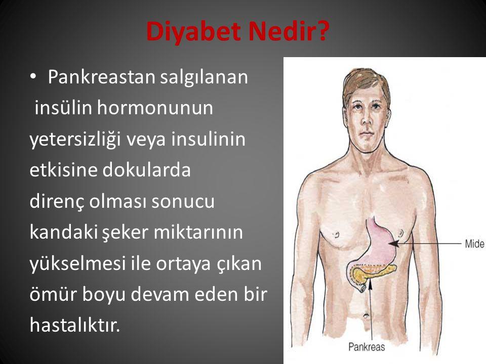 Diyabet Nedir Pankreastan salgılanan insülin hormonunun