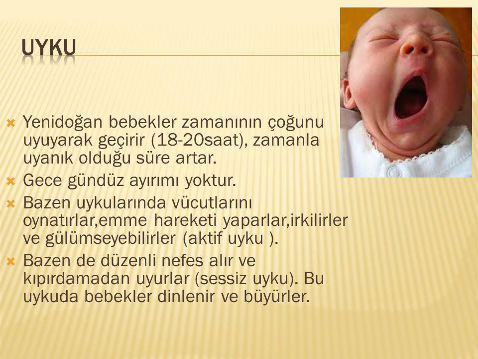 Uyku Yenidoğan bebekler zamanının çoğunu uyuyarak geçirir (18-20saat), zamanla uyanık olduğu süre artar.