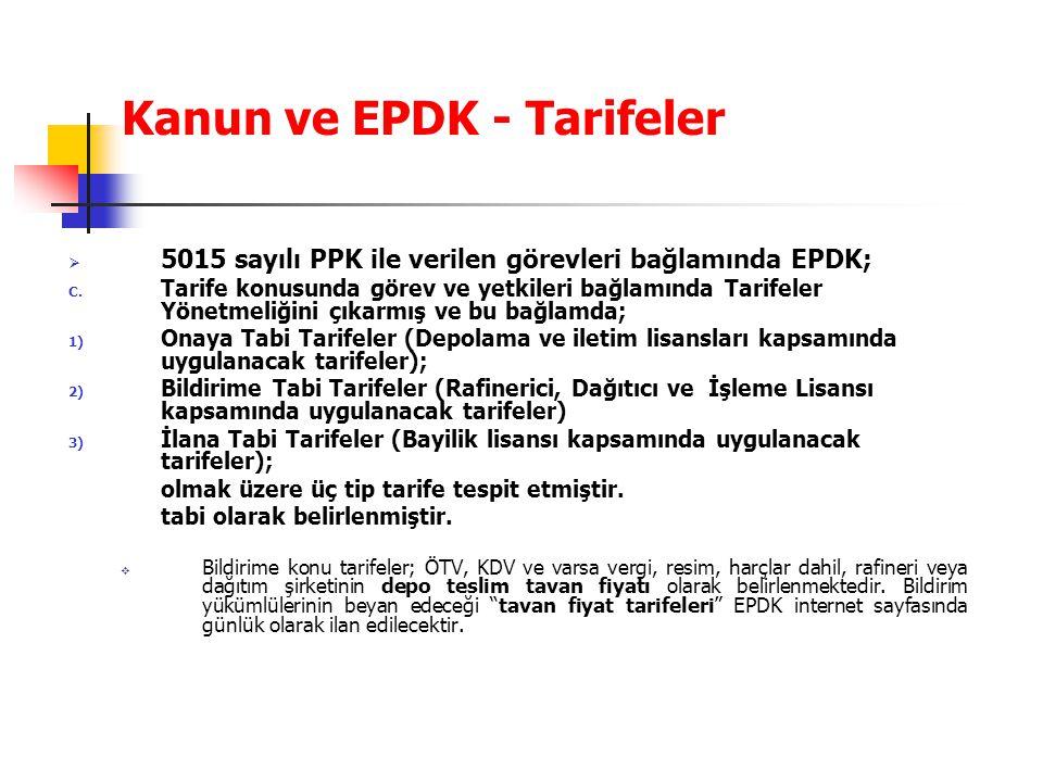 Kanun ve EPDK - Tarifeler