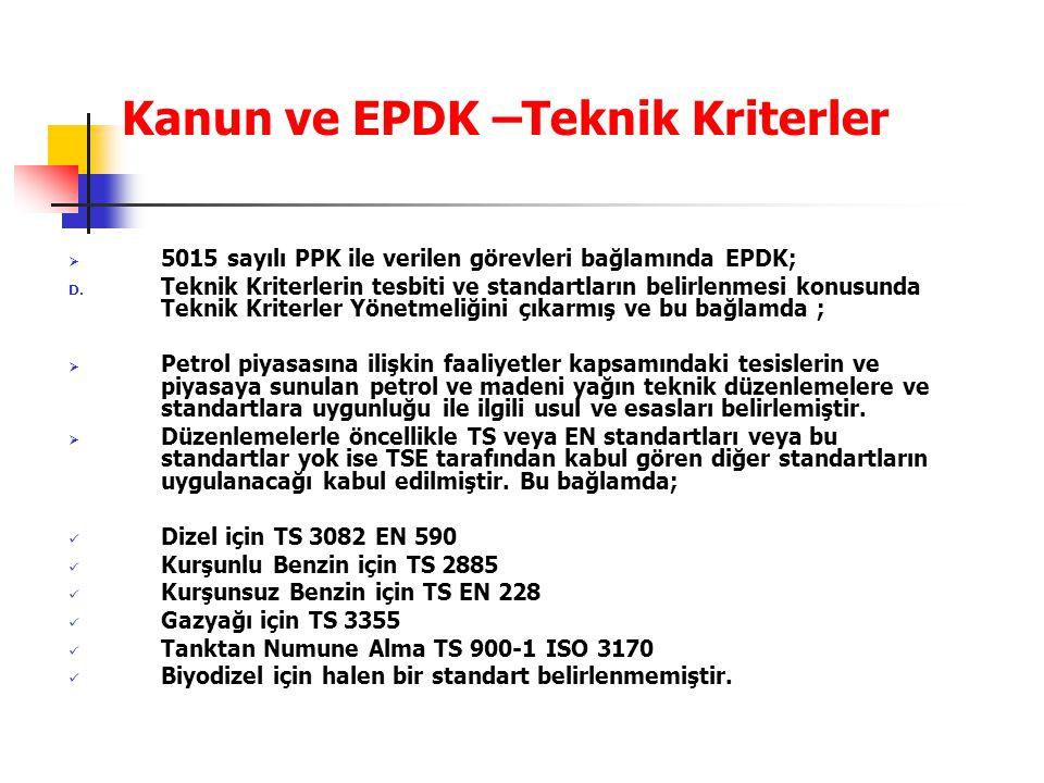 Kanun ve EPDK –Teknik Kriterler