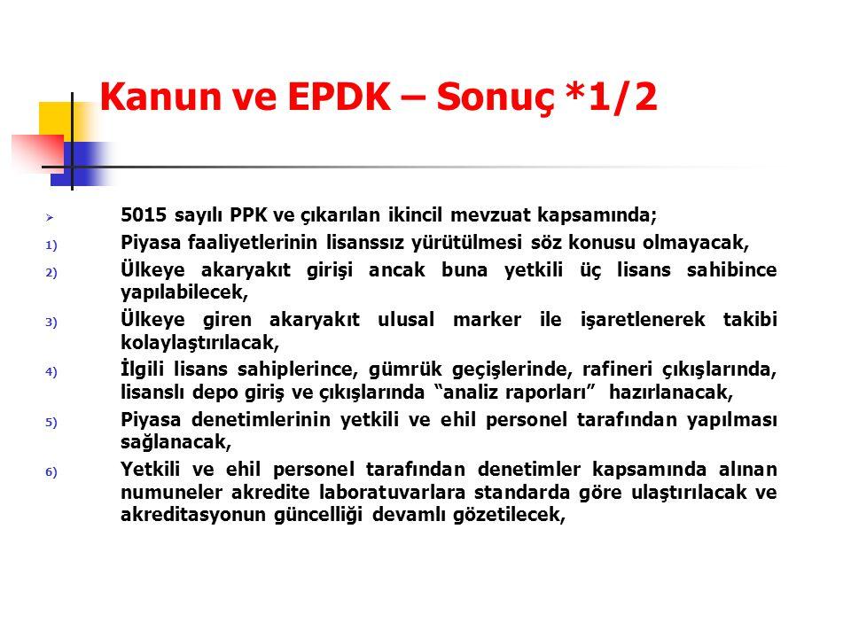 Kanun ve EPDK – Sonuç *1/2 5015 sayılı PPK ve çıkarılan ikincil mevzuat kapsamında;