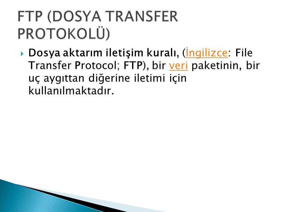 FTP (DOSYA TRANSFER PROTOKOLÜ)