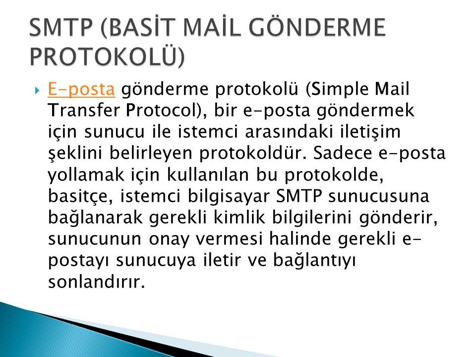 SMTP (BASİT MAİL GÖNDERME PROTOKOLÜ)