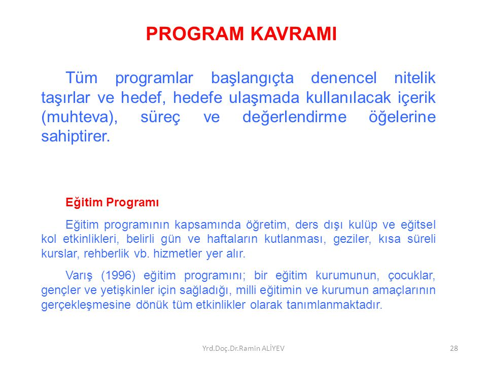 PROGRAM KAVRAMI