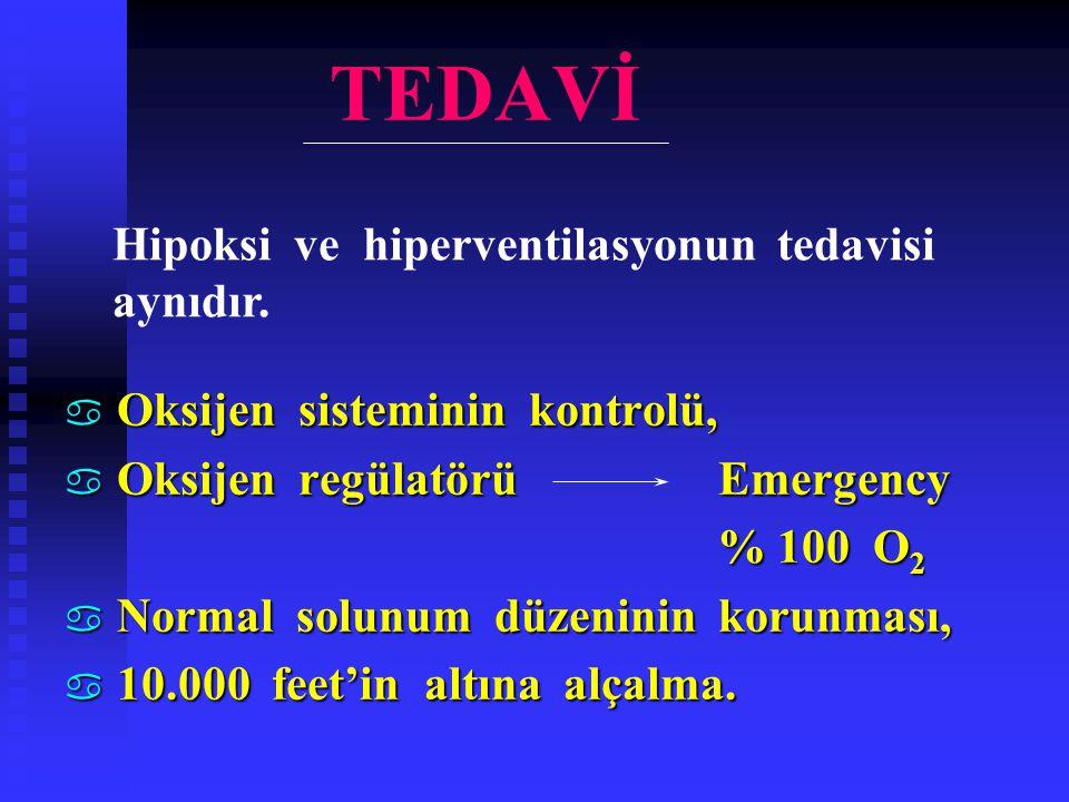TEDAVİ Hipoksi ve hiperventilasyonun tedavisi aynıdır.