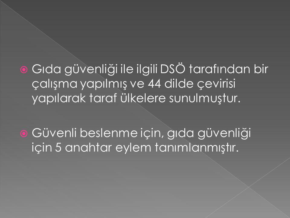 Gıda güvenliği ile ilgili DSÖ tarafından bir çalışma yapılmış ve 44 dilde çevirisi yapılarak taraf ülkelere sunulmuştur.