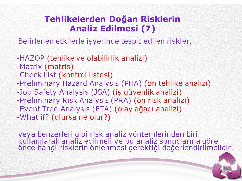 Tehlikelerden Doğan Risklerin Analiz Edilmesi (7)