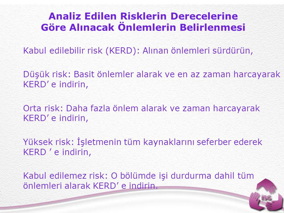 Analiz Edilen Risklerin Derecelerine Göre Alınacak Önlemlerin Belirlenmesi