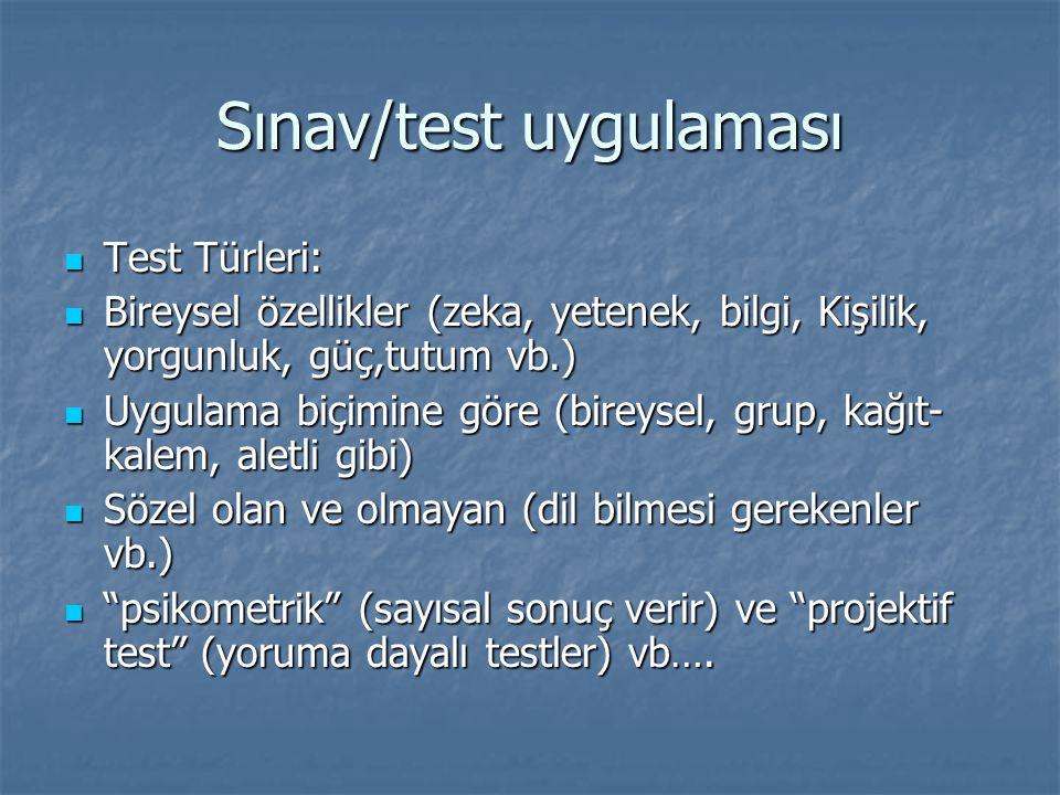 Sınav/test uygulaması