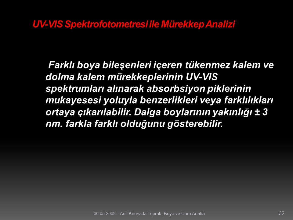 UV-VIS Spektrofotometresi ile Mürekkep Analizi
