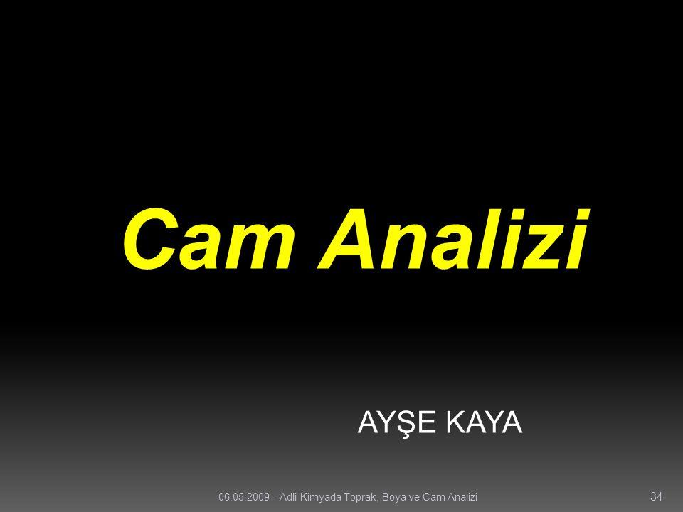 Cam Analizi AYŞE KAYA 06.05.2009 - Adli Kimyada Toprak, Boya ve Cam Analizi