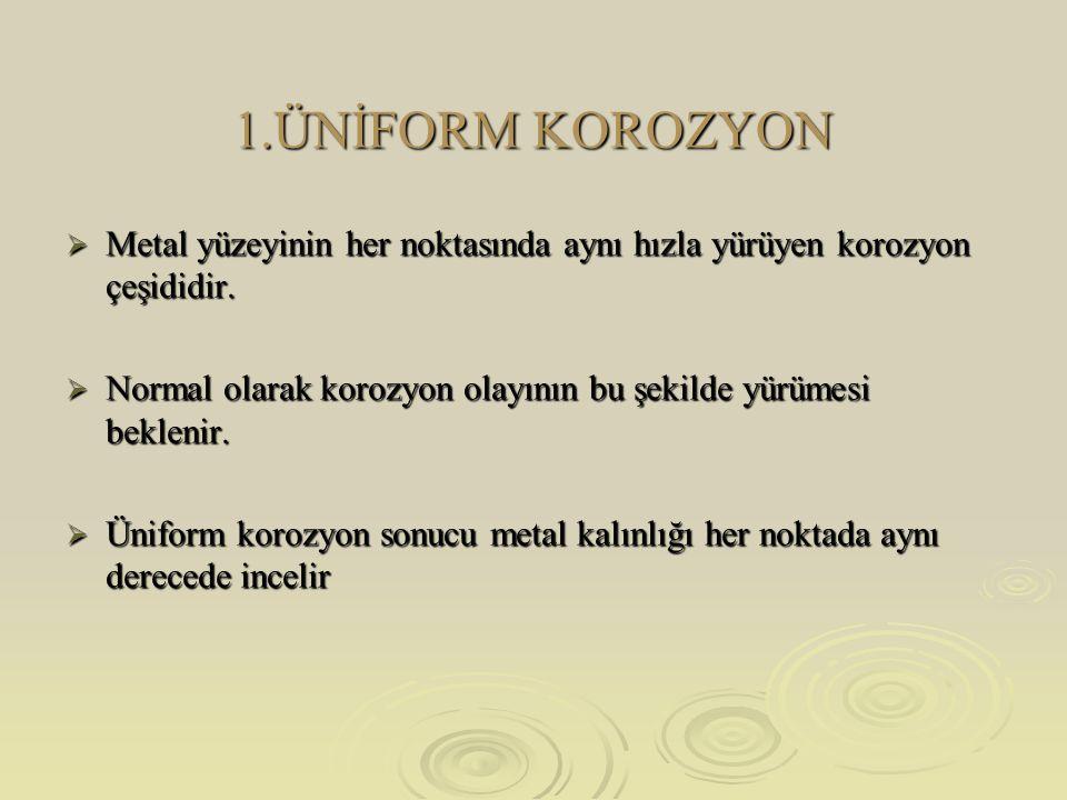 1.ÜNİFORM KOROZYON Metal yüzeyinin her noktasında aynı hızla yürüyen korozyon çeşididir.