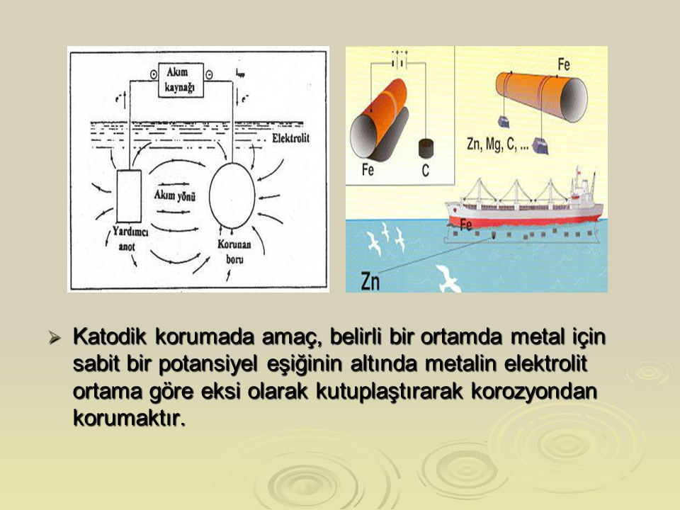 Katodik korumada amaç, belirli bir ortamda metal için sabit bir potansiyel eşiğinin altında metalin elektrolit ortama göre eksi olarak kutuplaştırarak korozyondan korumaktır.
